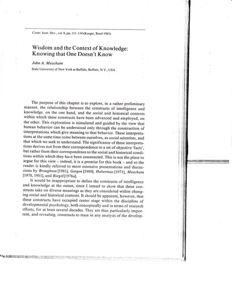 (PDF) Wisdom and the context of knowledge: Knowing that