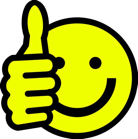 Thumbs up smiley by skotan - A yellow smiley face giving a