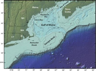 Gulf of Maine Map Showing Georges Bank [image