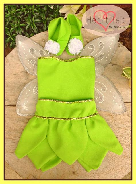 Hand stitched tinker bell costume and felt tink booties